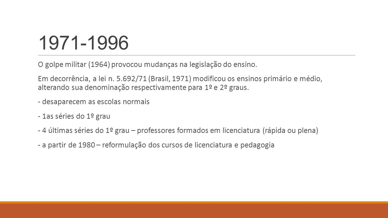 1971-1996 O golpe militar (1964) provocou mudanças na legislação do ensino.