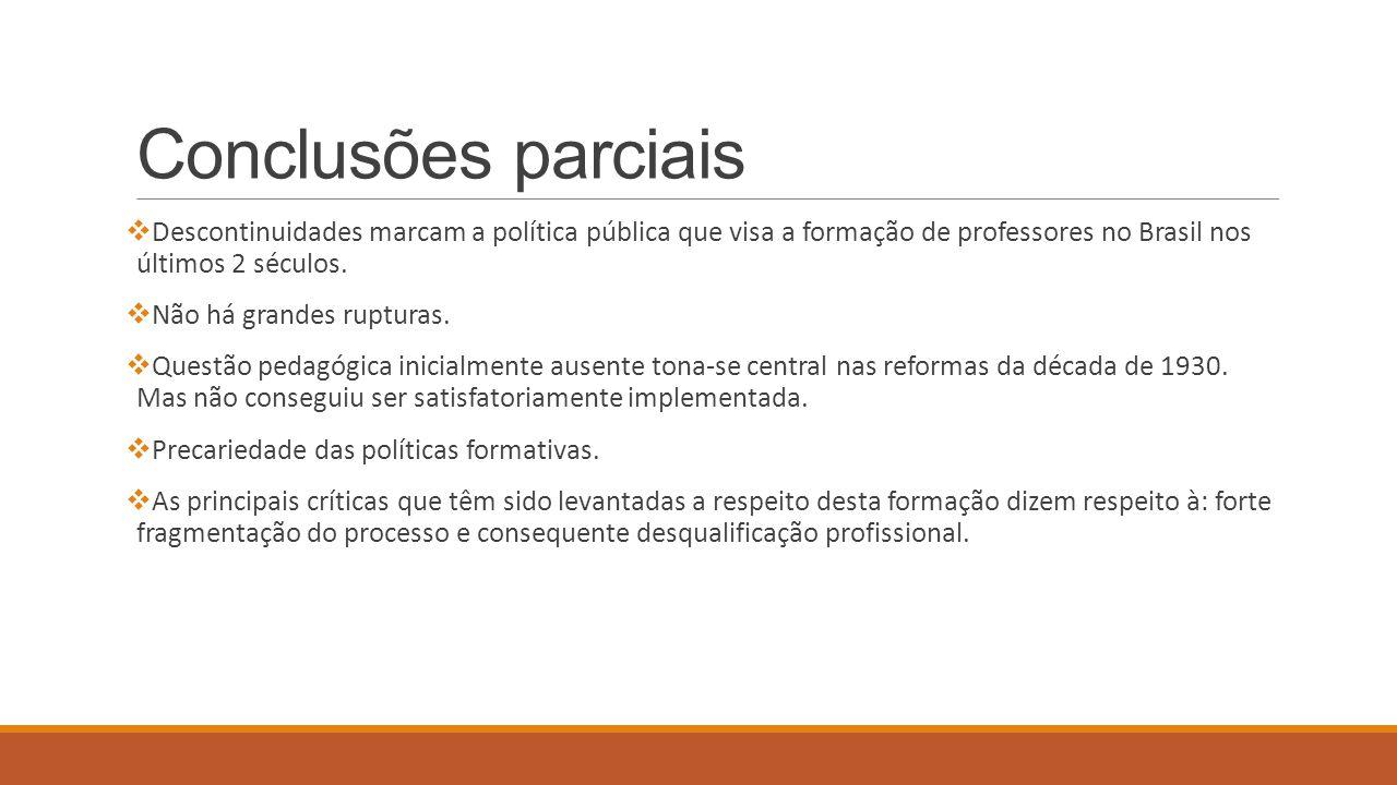 Conclusões parciais Descontinuidades marcam a política pública que visa a formação de professores no Brasil nos últimos 2 séculos.