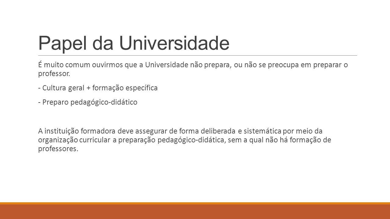 Papel da Universidade É muito comum ouvirmos que a Universidade não prepara, ou não se preocupa em preparar o professor.
