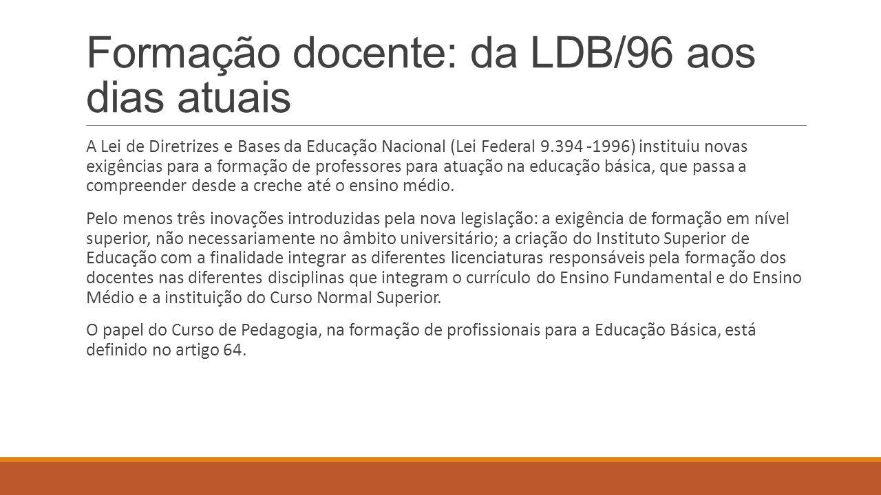 Formação docente: da LDB/96 aos dias atuais