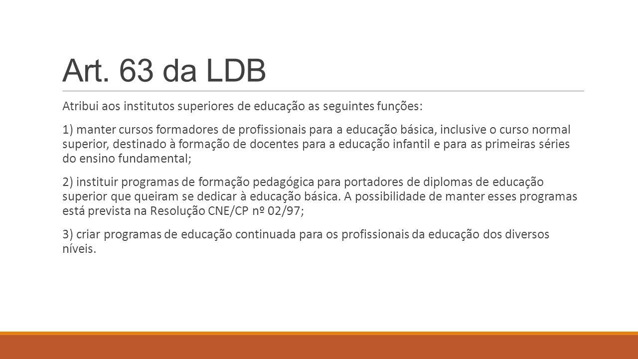 Art. 63 da LDB Atribui aos institutos superiores de educação as seguintes funções: