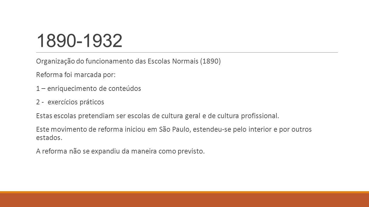 1890-1932 Organização do funcionamento das Escolas Normais (1890)