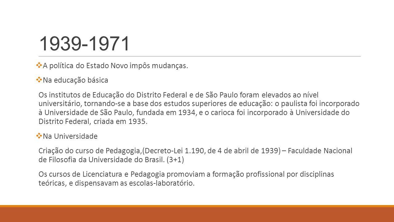 1939-1971 A política do Estado Novo impôs mudanças. Na educação básica