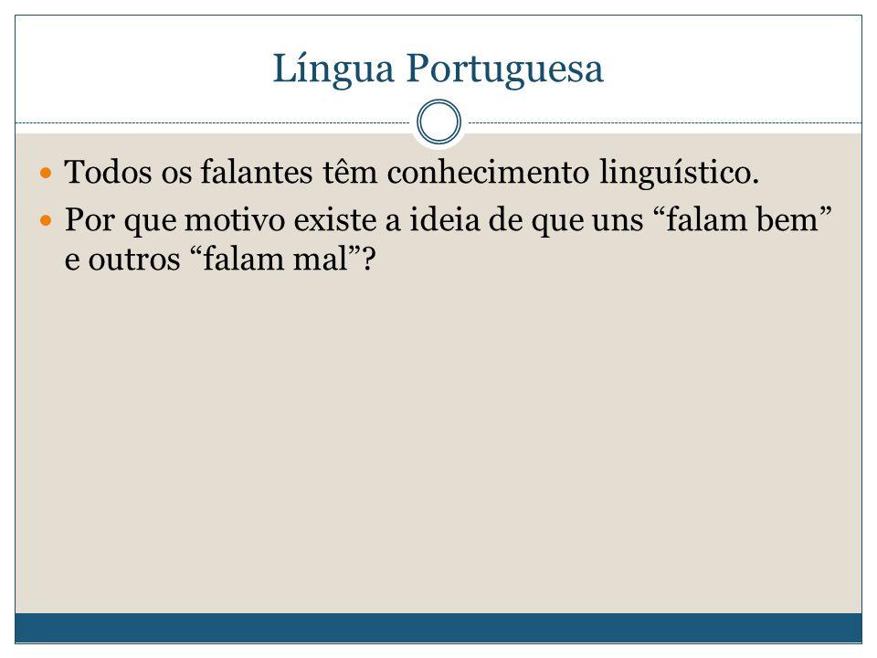 Língua Portuguesa Todos os falantes têm conhecimento linguístico.