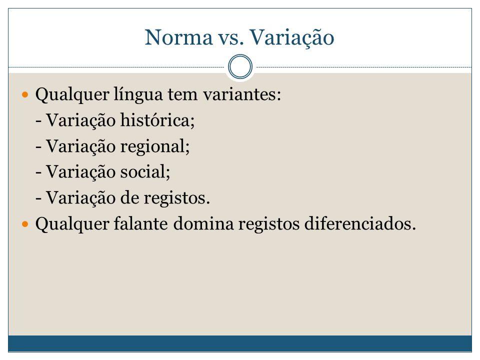 Norma vs. Variação Qualquer língua tem variantes: