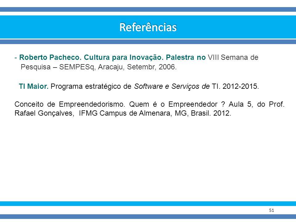 Referências Roberto Pacheco. Cultura para Inovação. Palestra no VIII Semana de. Pesquisa – SEMPESq, Aracaju, Setembr, 2006.