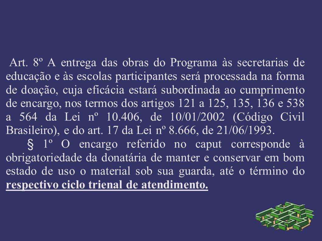 Art. 8º A entrega das obras do Programa às secretarias de educação e às escolas participantes será processada na forma de doação, cuja eficácia estará subordinada ao cumprimento de encargo, nos termos dos artigos 121 a 125, 135, 136 e 538 a 564 da Lei nº 10.406, de 10/01/2002 (Código Civil Brasileiro), e do art. 17 da Lei nº 8.666, de 21/06/1993.