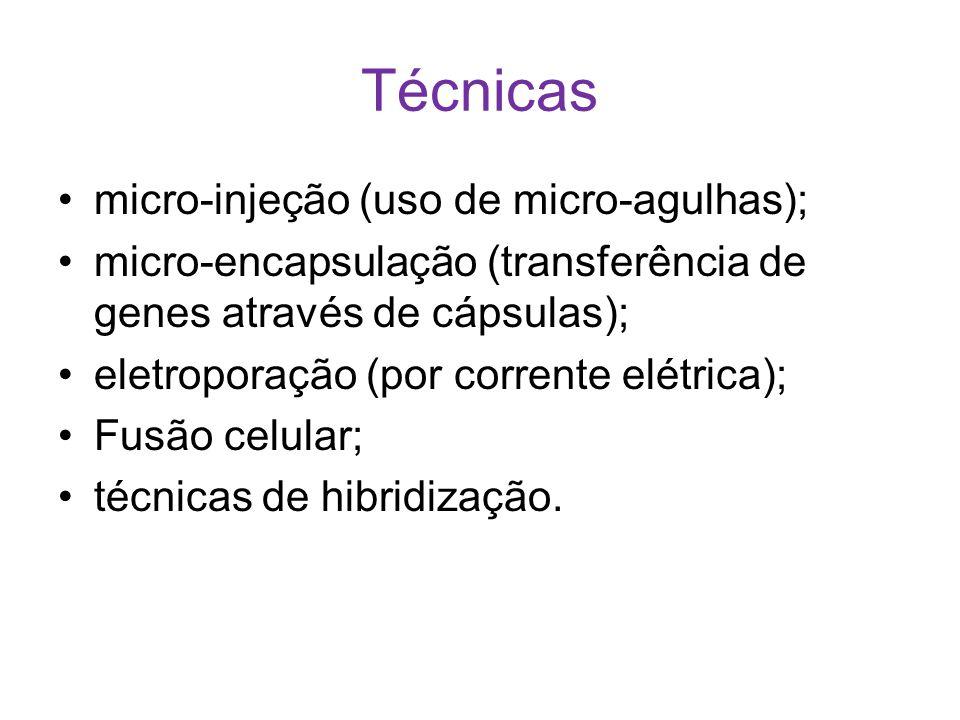 Técnicas micro-injeção (uso de micro-agulhas);