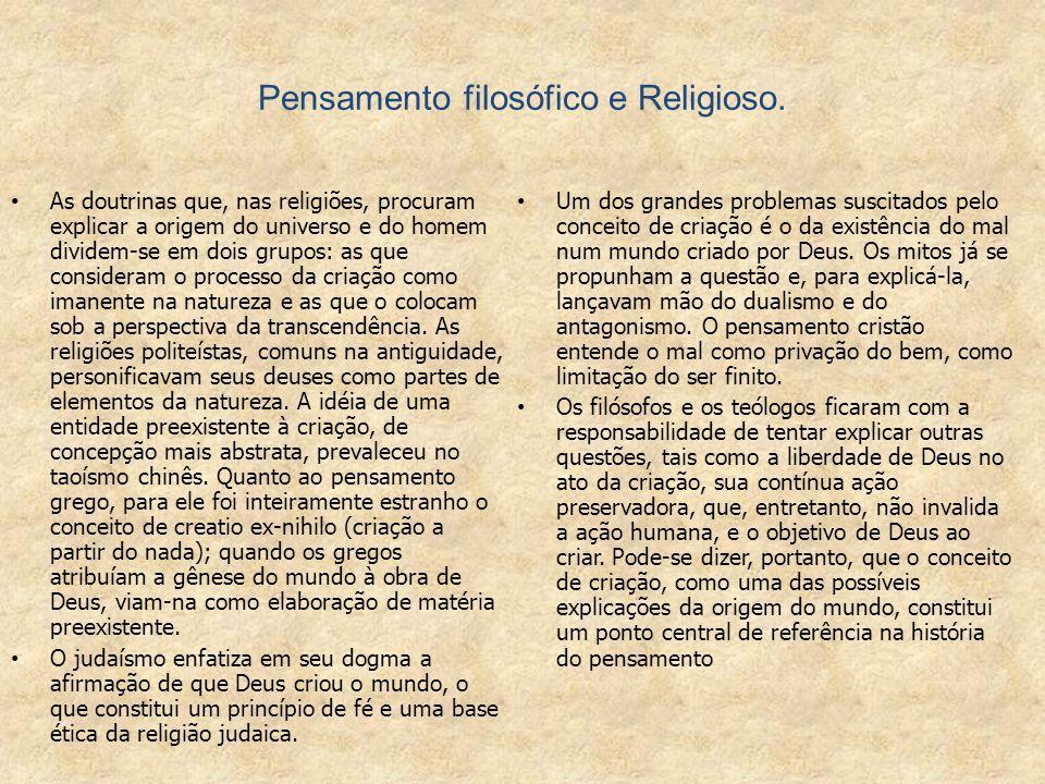 Pensamento filosófico e Religioso.