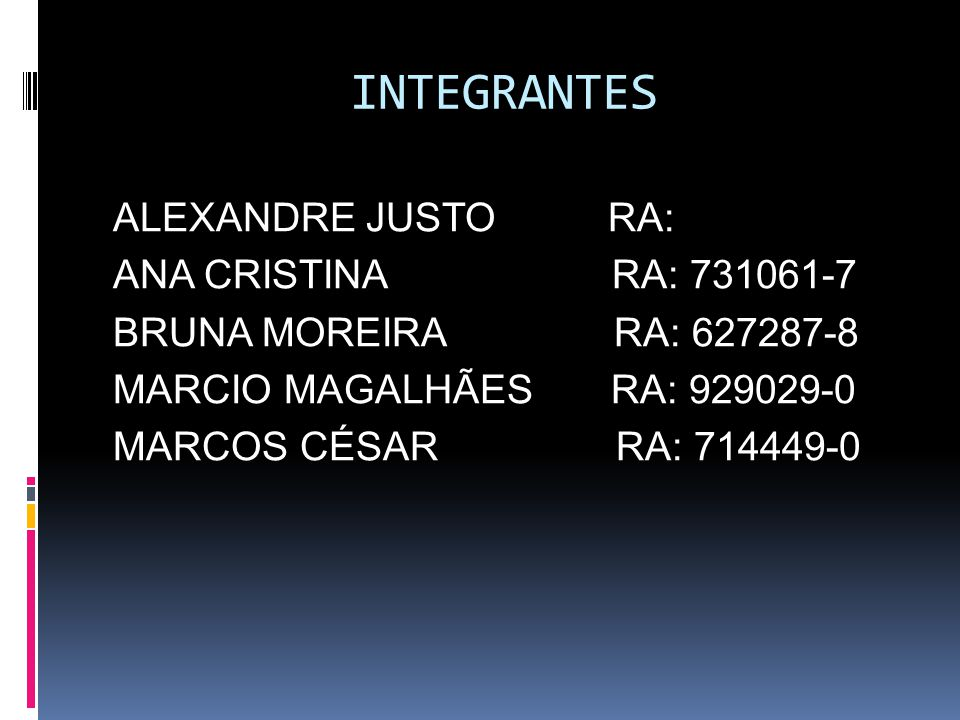 INTEGRANTES ALEXANDRE JUSTO RA: ANA CRISTINA RA: 731061-7 BRUNA MOREIRA RA: 627287-8 MARCIO MAGALHÃES RA: 929029-0 MARCOS CÉSAR RA: 714449-0