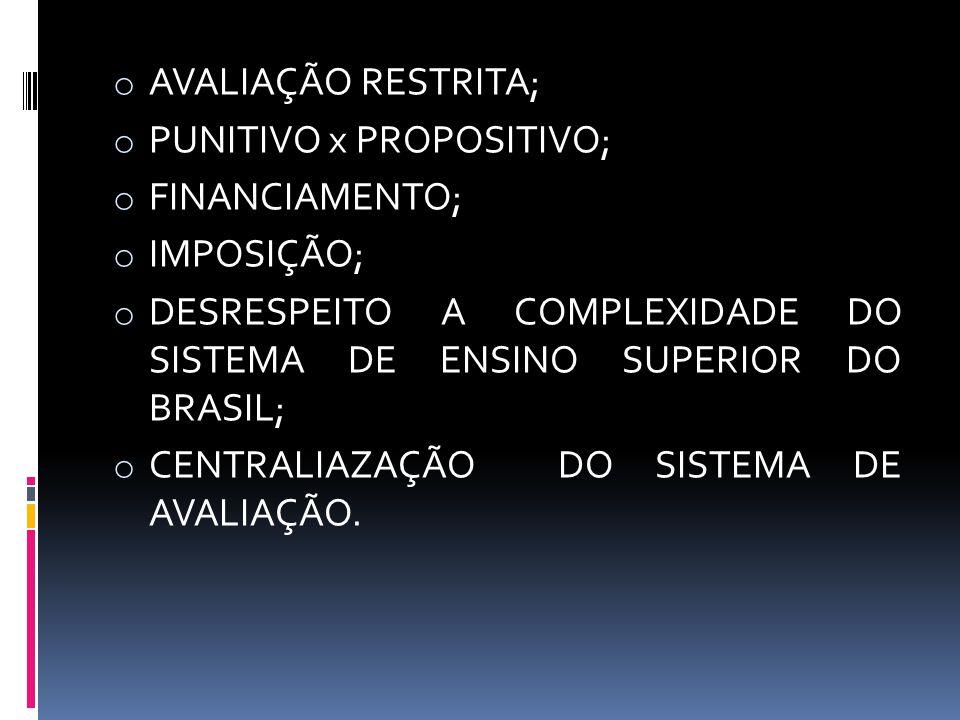 AVALIAÇÃO RESTRITA; PUNITIVO x PROPOSITIVO; FINANCIAMENTO; IMPOSIÇÃO; DESRESPEITO A COMPLEXIDADE DO SISTEMA DE ENSINO SUPERIOR DO BRASIL;