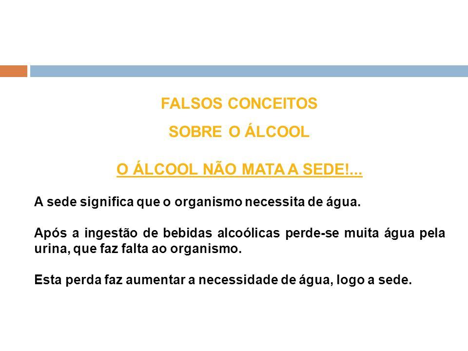 FALSOS CONCEITOS SOBRE O ÁLCOOL O ÁLCOOL NÃO MATA A SEDE!...