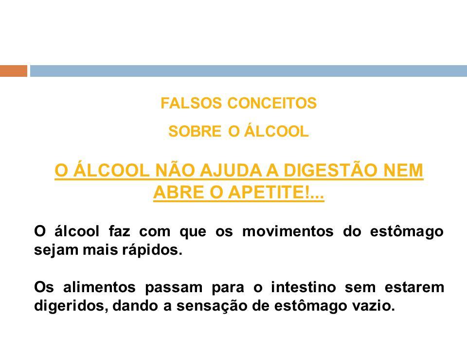 O ÁLCOOL NÃO AJUDA A DIGESTÃO NEM ABRE O APETITE!...