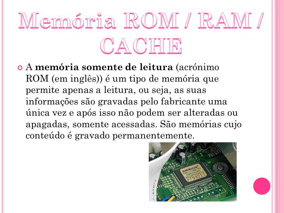 Memória ROM / RAM / CACHE