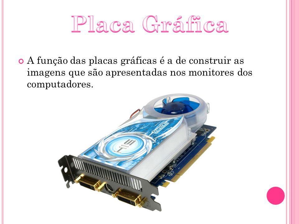 Placa Gráfica A função das placas gráficas é a de construir as imagens que são apresentadas nos monitores dos computadores.
