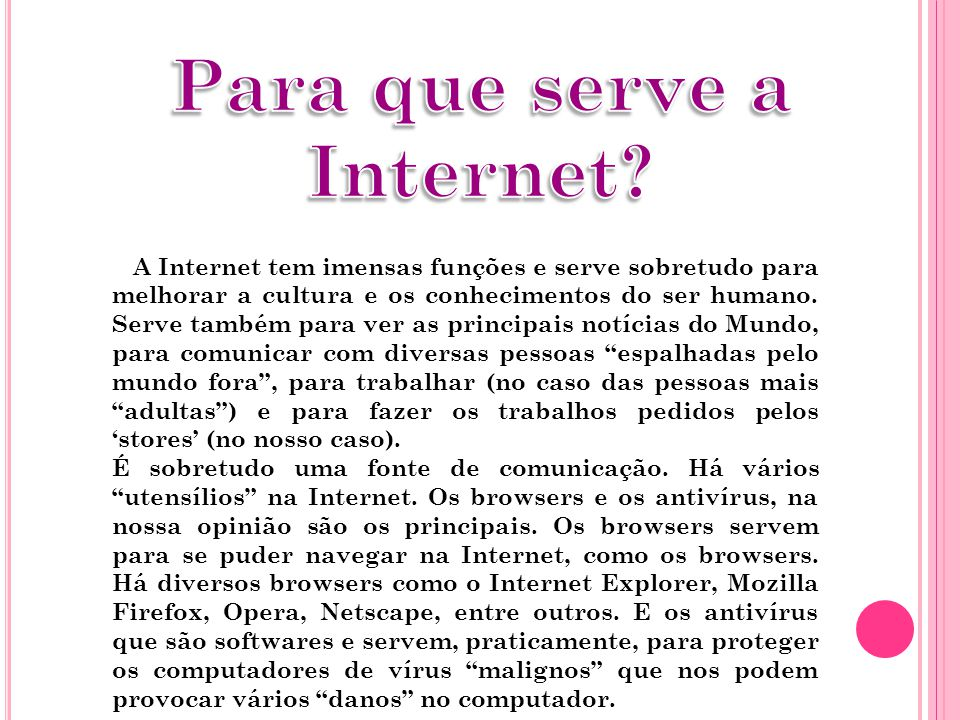 Para que serve a Internet