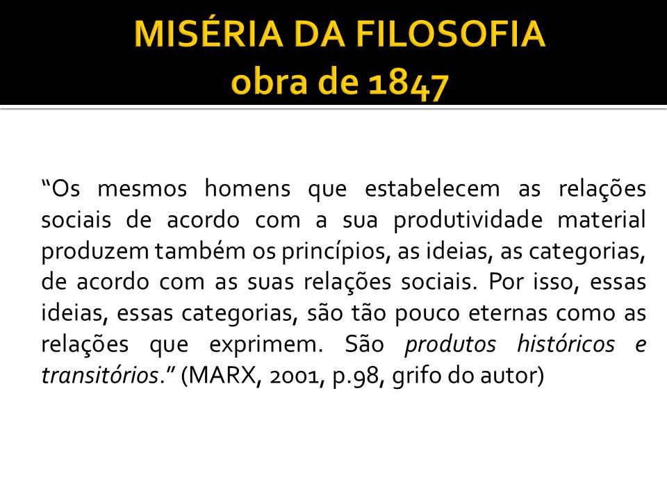 MISÉRIA DA FILOSOFIA obra de 1847