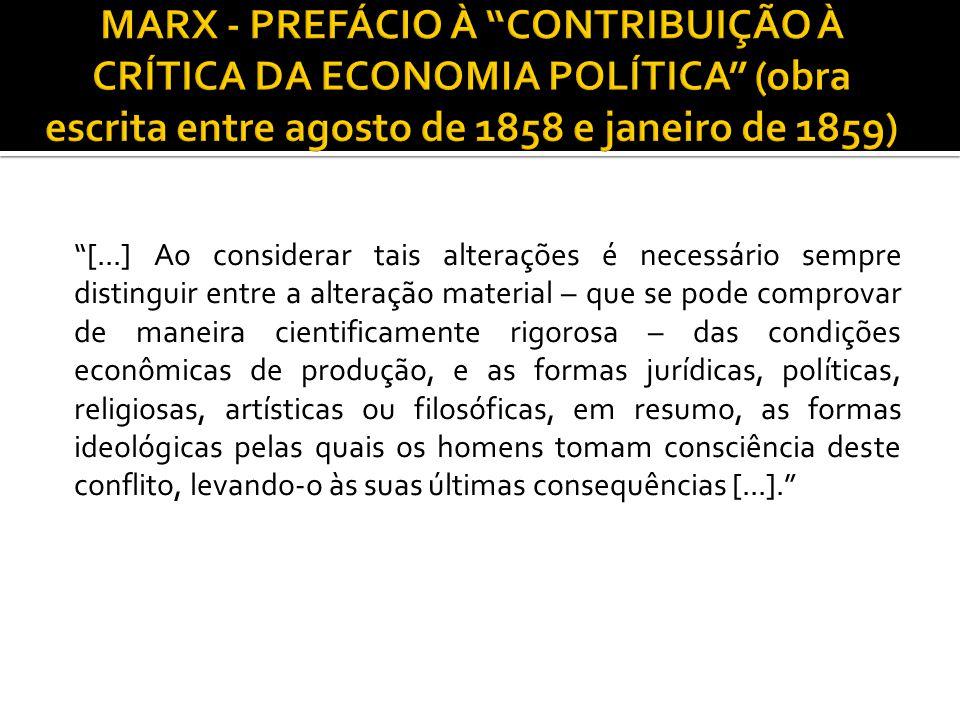 MARX - PREFÁCIO À CONTRIBUIÇÃO À CRÍTICA DA ECONOMIA POLÍTICA (obra escrita entre agosto de 1858 e janeiro de 1859)