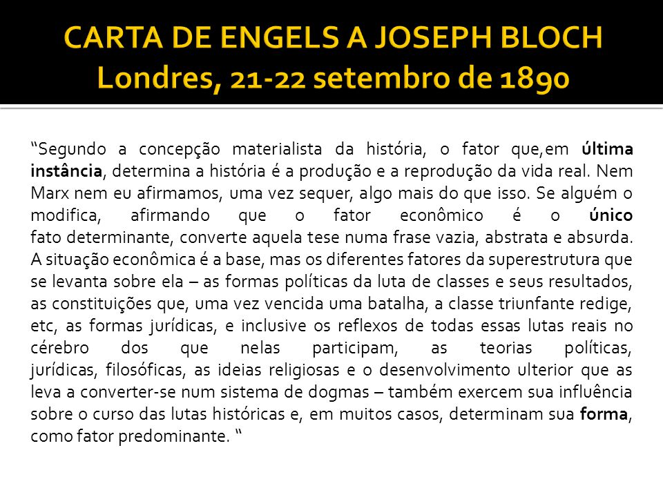 CARTA DE ENGELS A JOSEPH BLOCH Londres, 21-22 setembro de 1890