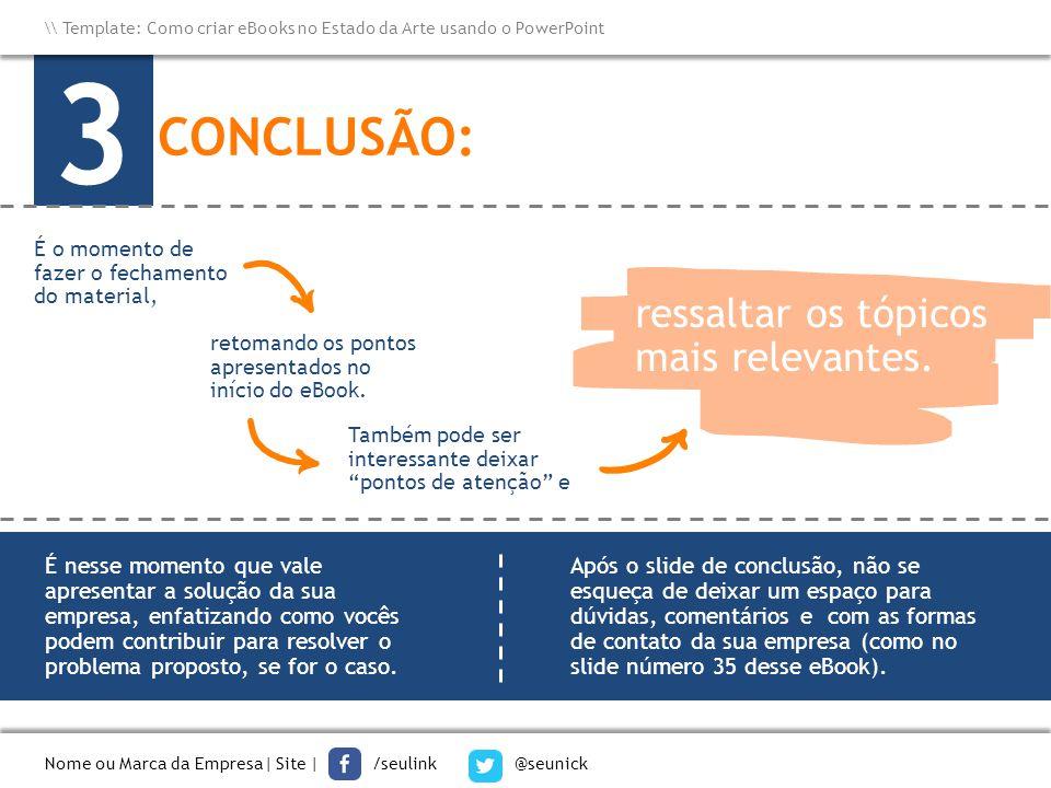 3 CONCLUSÃO: ressaltar os tópicos mais relevantes.