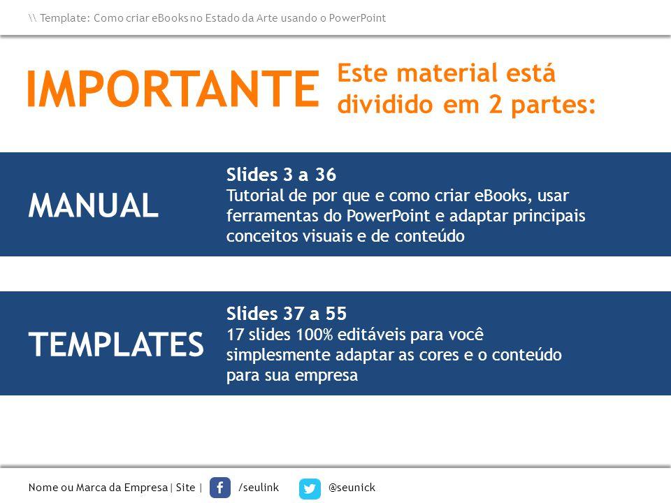 IMPORTANTE MANUAL TEMPLATES Este material está dividido em 2 partes: