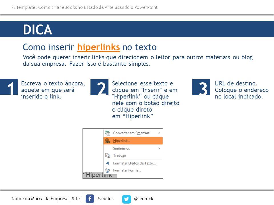 1 2 3 DICA Como inserir hiperlinks no texto
