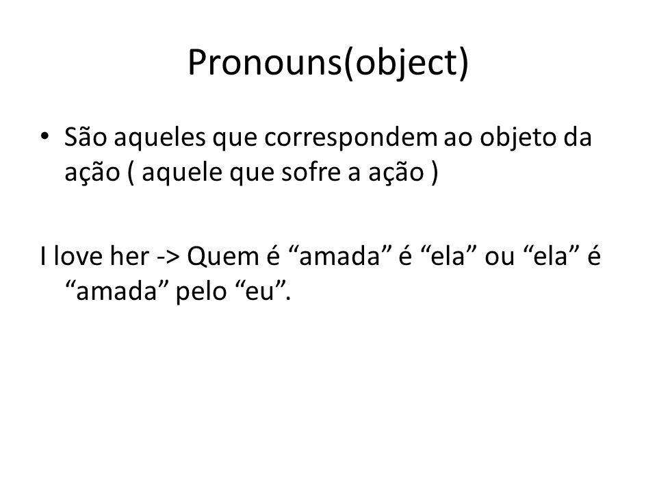 Pronouns(object) São aqueles que correspondem ao objeto da ação ( aquele que sofre a ação )