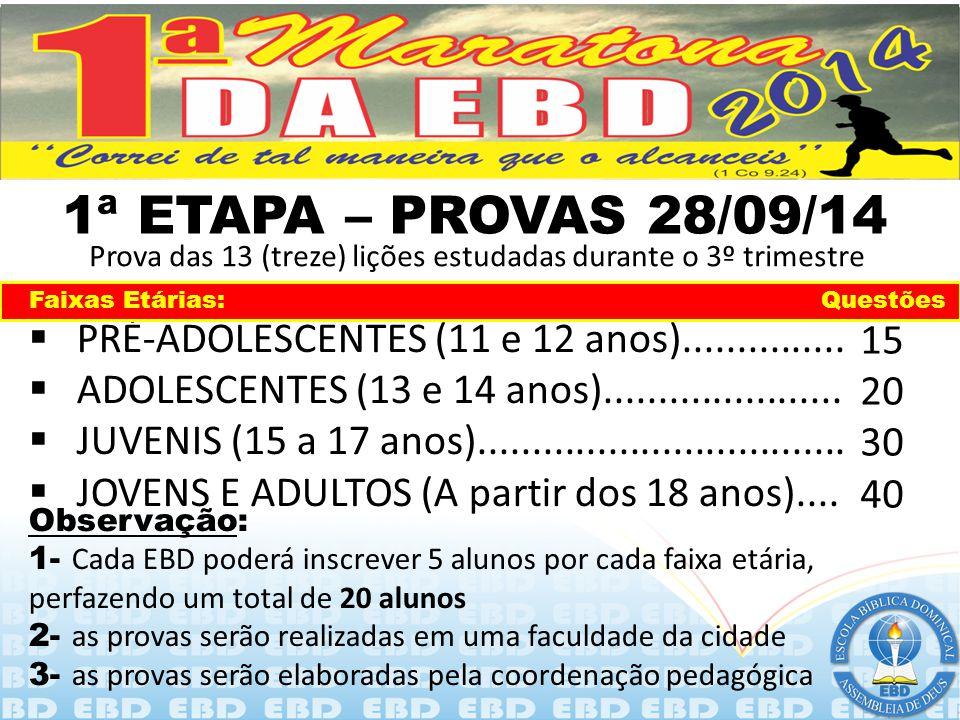 1ª ETAPA – PROVAS 28/09/14 Prova das 13 (treze) lições estudadas durante o 3º trimestre. Faixas Etárias: