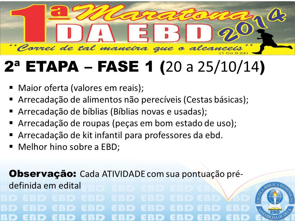 2ª ETAPA – FASE 1 (20 a 25/10/14) Maior oferta (valores em reais);