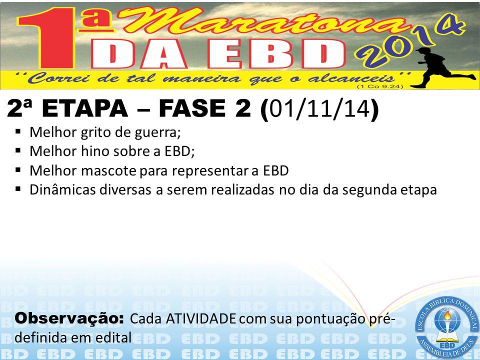 2ª ETAPA – FASE 2 (01/11/14) Melhor grito de guerra;