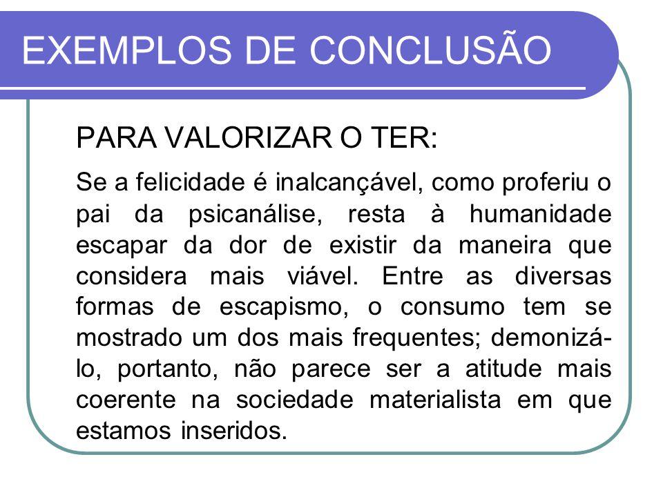 EXEMPLOS DE CONCLUSÃO