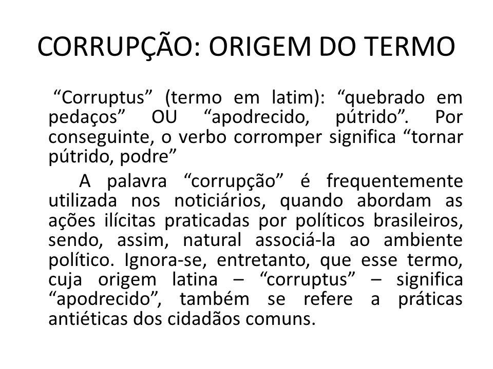 CORRUPÇÃO: ORIGEM DO TERMO