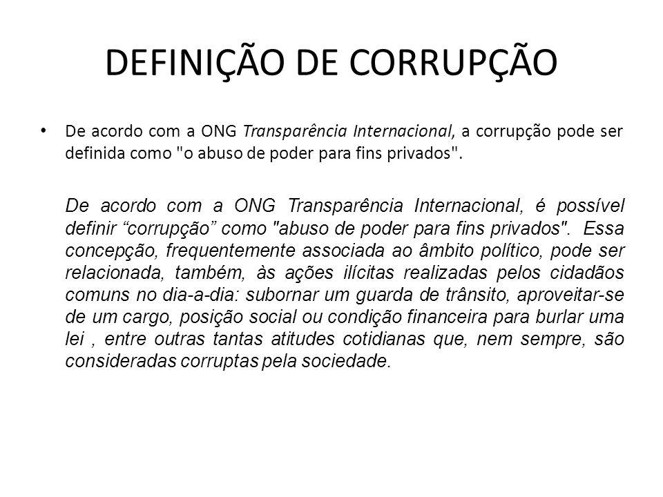 DEFINIÇÃO DE CORRUPÇÃO