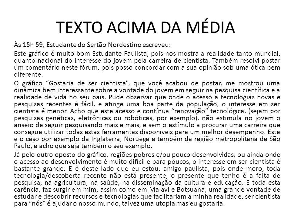 TEXTO ACIMA DA MÉDIA Às 15h 59, Estudante do Sertão Nordestino escreveu: