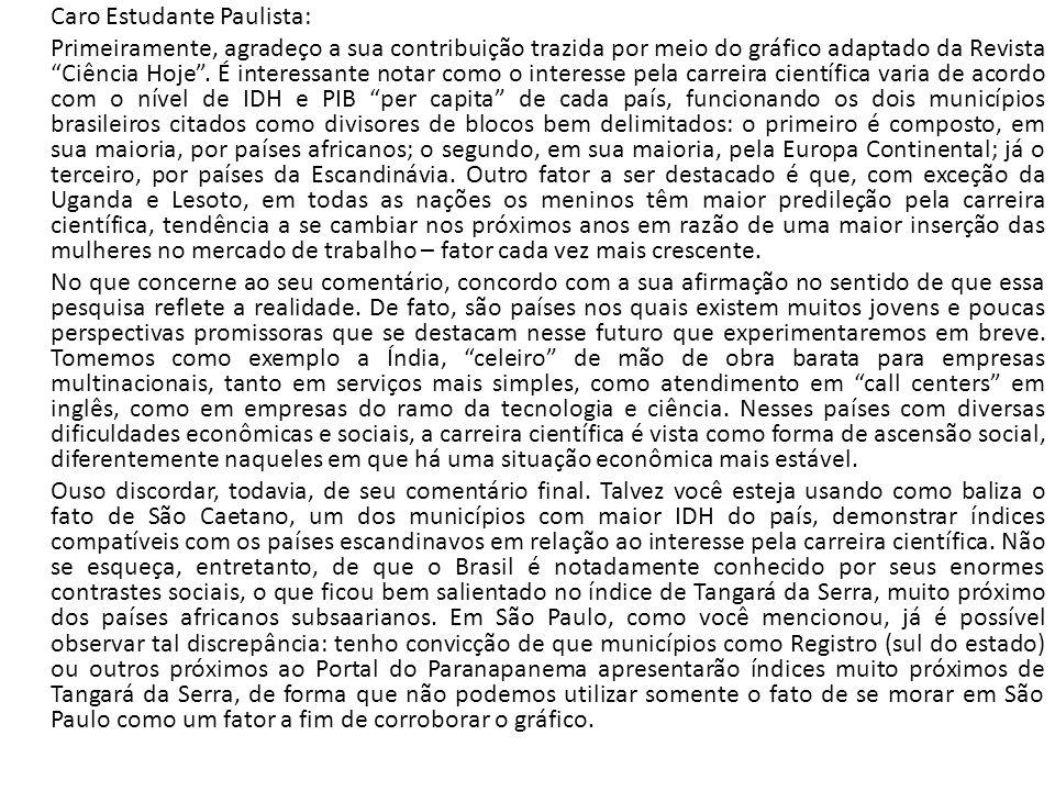 Caro Estudante Paulista: