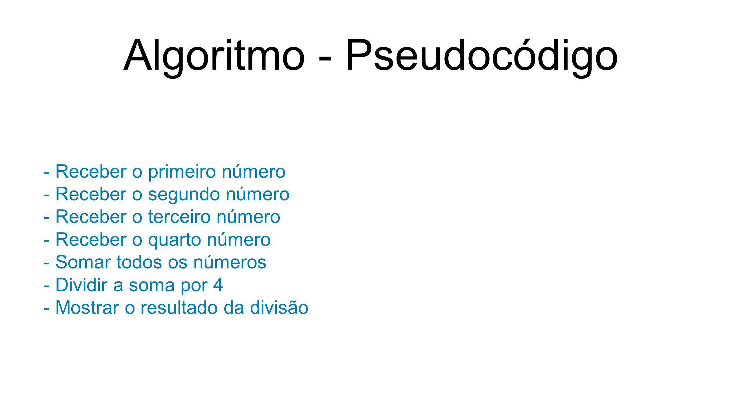 Algoritmo - Pseudocódigo