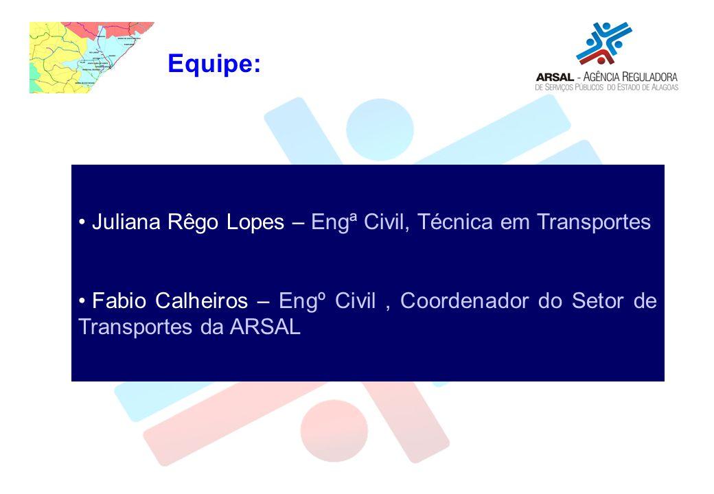 Equipe: Juliana Rêgo Lopes – Engª Civil, Técnica em Transportes