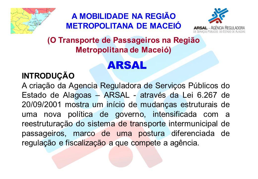 ARSAL A MOBILIDADE NA REGIÃO METROPOLITANA DE MACEIÓ