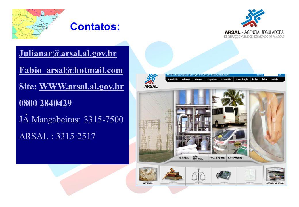 Contatos: Julianar@arsal.al.gov.br Fabio_arsal@hotmail.com