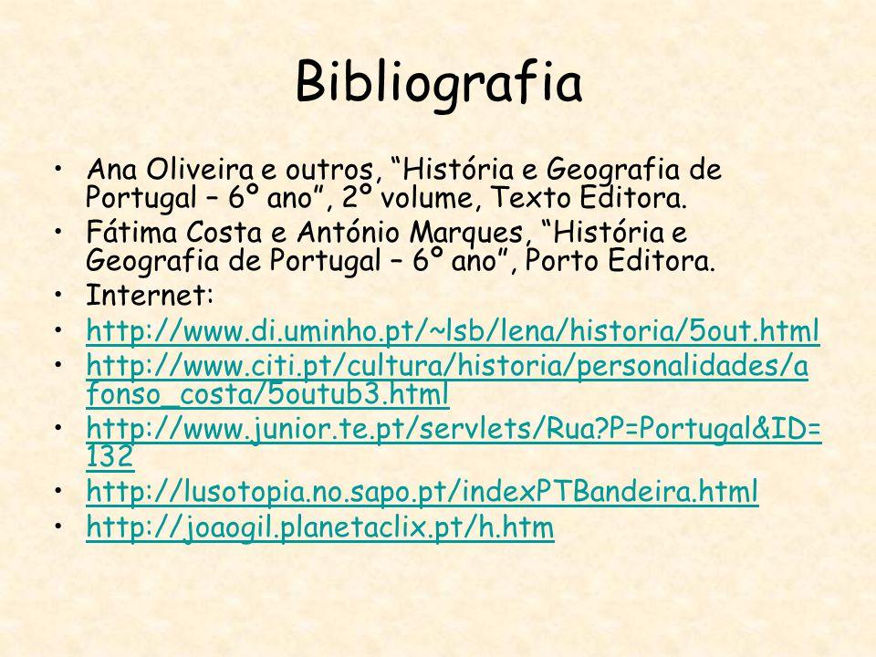 Bibliografia Ana Oliveira e outros, História e Geografia de Portugal – 6º ano , 2º volume, Texto Editora.