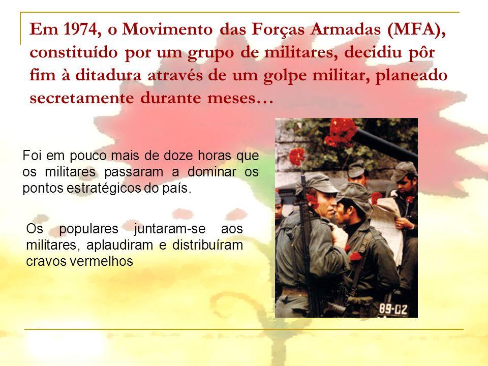 Em 1974, o Movimento das Forças Armadas (MFA), constituído por um grupo de militares, decidiu pôr fim à ditadura através de um golpe militar, planeado secretamente durante meses…