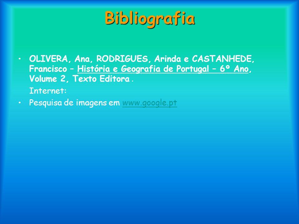 Bibliografia OLIVERA, Ana, RODRIGUES, Arinda e CASTANHEDE, Francisco – História e Geografia de Portugal – 6º Ano, Volume 2, Texto Editora .