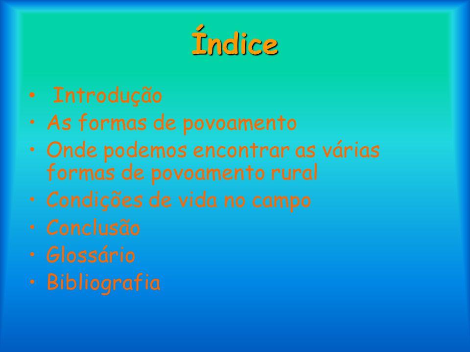 Índice • Introdução As formas de povoamento