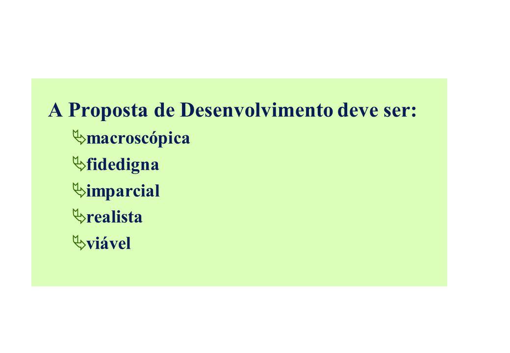 A Proposta de Desenvolvimento deve ser: