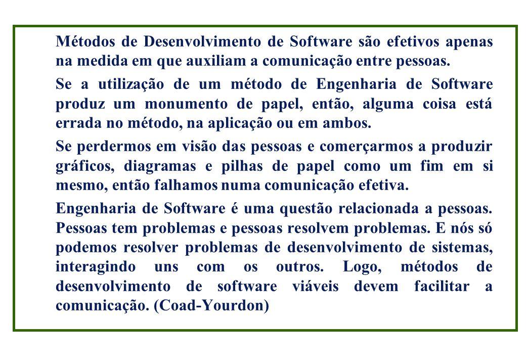 Métodos de Desenvolvimento de Software são efetivos apenas na medida em que auxiliam a comunicação entre pessoas.