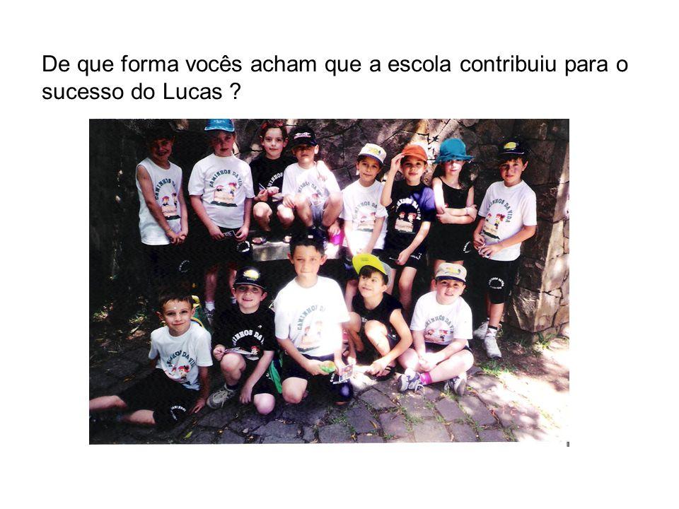 De que forma vocês acham que a escola contribuiu para o sucesso do Lucas