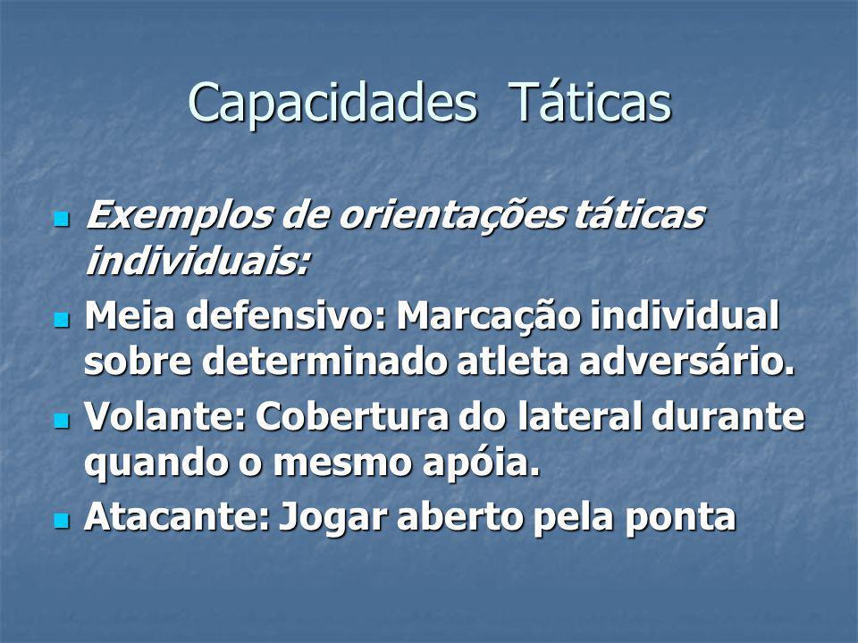 Capacidades Táticas Exemplos de orientações táticas individuais: