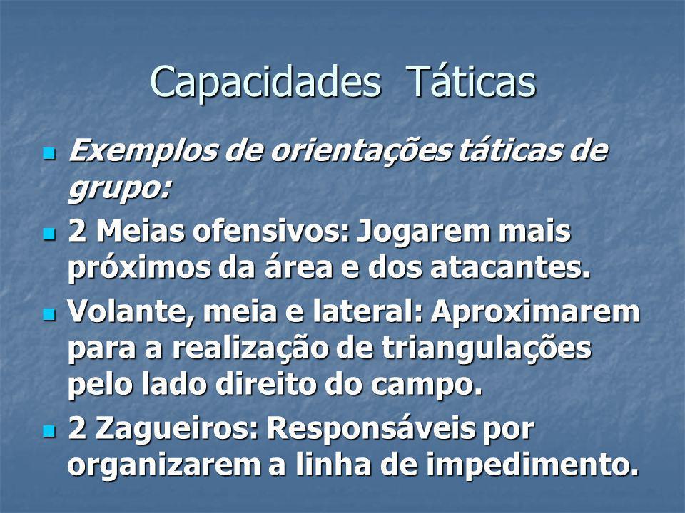 Capacidades Táticas Exemplos de orientações táticas de grupo: