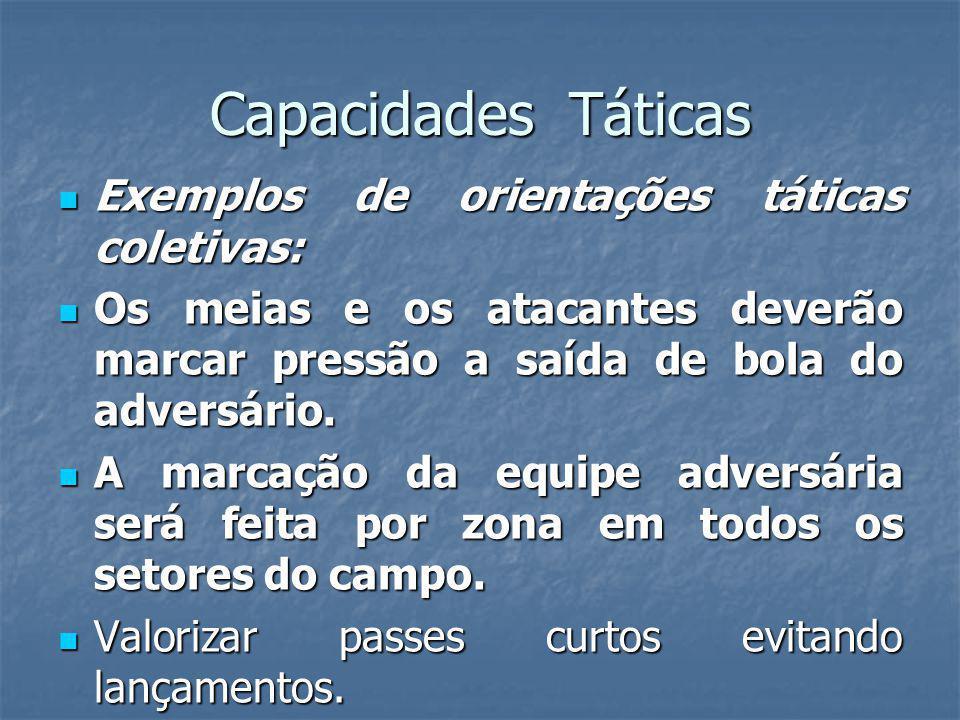 Capacidades Táticas Exemplos de orientações táticas coletivas: