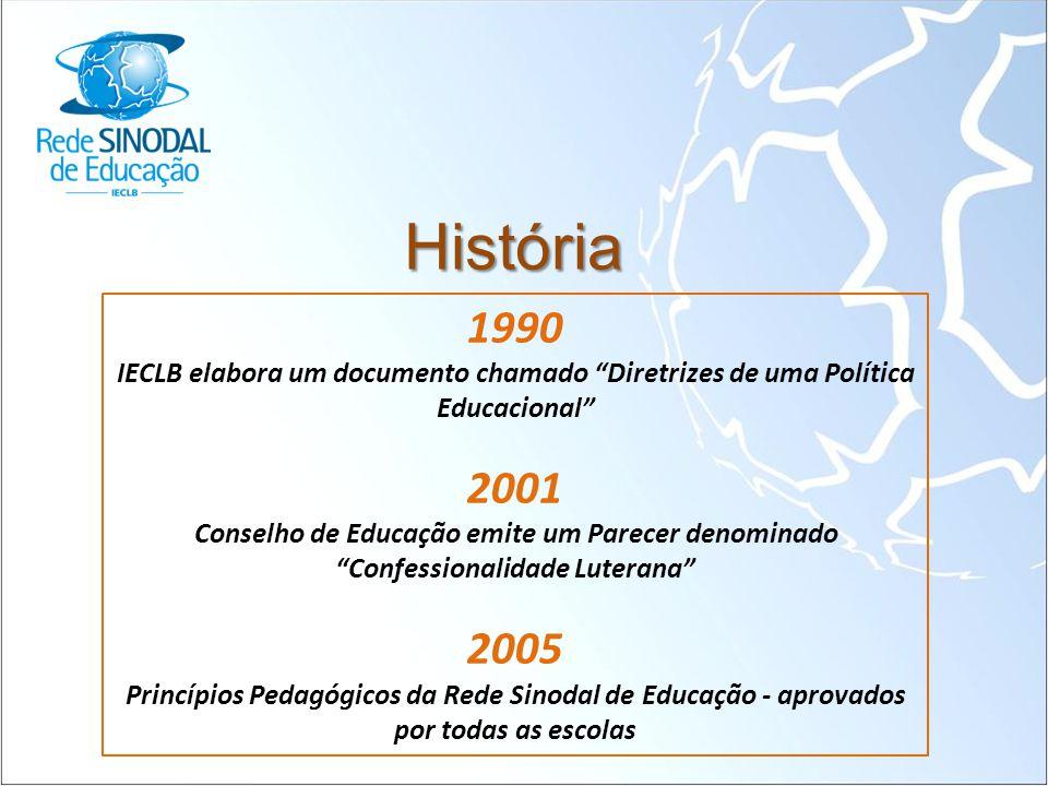 História 1990. IECLB elabora um documento chamado Diretrizes de uma Política. Educacional 2001.